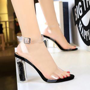 Sexy Zwarte Rave Club Sandalen Dames 2020 Enkelband 11 cm Dikke Hak Peep Toe Sandalen