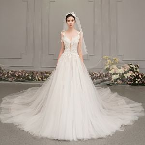Elegant Ivory Wedding Dresses 2019 A-Line / Princess Deep V-Neck Sleeveless Backless Appliques Lace Beading Cathedral Train Ruffle