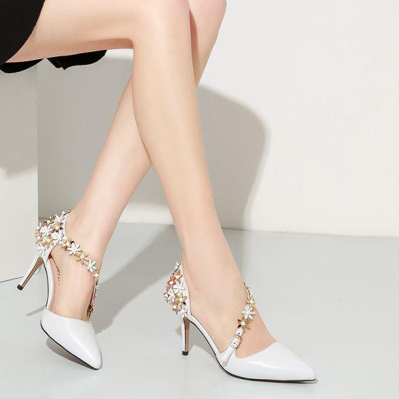 Magnífico 2017 Blanco Casual Cuero Apliques Rhinestone High Heels Stilettos / Tacones De Aguja 6 cm Tacones