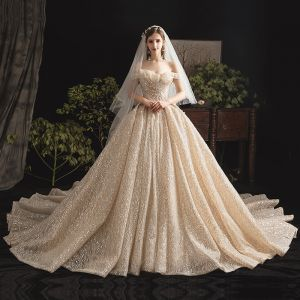 Bling Bling Champagne Wedding Dresses 2019 Ball Gown Off-The-Shoulder Short Sleeve Backless Glitter Tulle Cathedral Train Ruffle