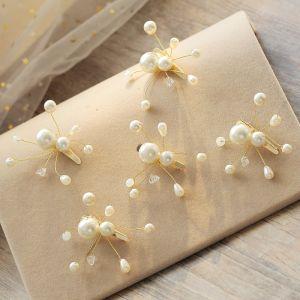 Schlicht Beige Ohrringe Kopfschmuck 2019 Perlenstickerei Kristall Perle Ball Hochzeit 5 Stück Brautaccessoires