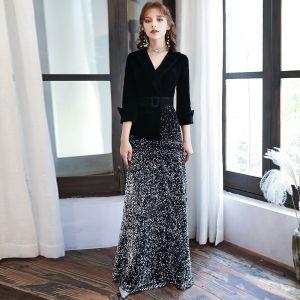 Chic / Beautiful Black Velour Winter Evening Dresses  2020 A-Line / Princess V-Neck 3/4 Sleeve Sash Sequins Floor-Length / Long Formal Dresses