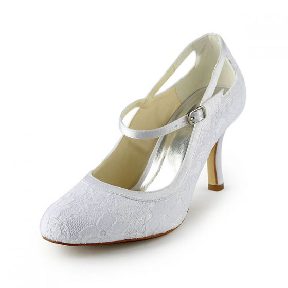 Beautiful Lace Bridal Wedding Shoes Stiletto Heels Ankle Strap Pumps