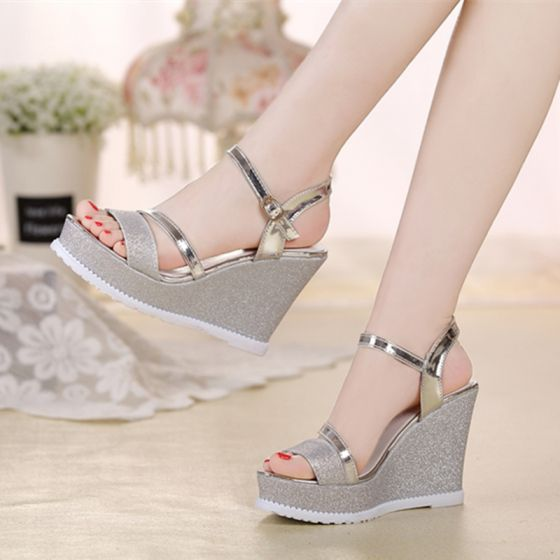 Sparkly 2017 Black Silver Outdoor / Garden Leatherette Summer Sequins Glitter Mid Heels Thick Heels Sandals 9 cm Open / Peep Toe Womens Sandals