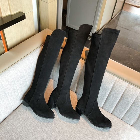 Chic / Beautiful Winter Black Street Wear Suede Womens Boots 2020 7 cm Thick Heels Round Toe Boots