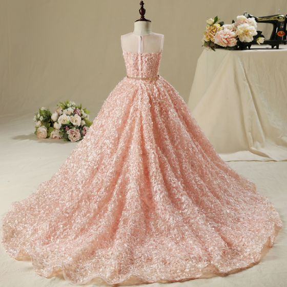 Chic / Beautiful Hall Wedding Party Dresses 2017 Flower Girl Dresses Pearl Pink Ball Gown Asymmetrical Scoop Neck Sleeveless Rhinestone Metal Sash Appliques Flower