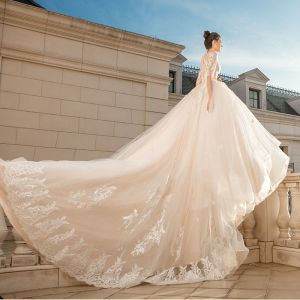 Elegant Champagne See-through Wedding Dresses 2018 Ball Gown Scoop Neck 1/2 Sleeves Appliques Pierced Lace Cathedral Train Ruffle