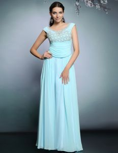 2015 Elegant Beauding Pleated Long Evening Dress