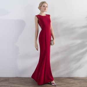 Chic / Beautiful Red Evening Dresses  2017 Trumpet / Mermaid Appliques Sequins Scoop Neck Zipper Up Sleeveless Ankle Length Evening Party
