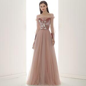 Elegant Perle Pink Suede Selskabskjoler 2020 Prinsesse Off-The-Shoulder Puffy Langærmet Bælte Applikationsbroderi Blomsten Beading Lange Flæse Halterneck Kjoler