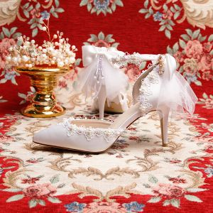 Charming Ivory Wedding Shoes 2019 Leather Ankle Strap Bow Pearl Lace Flower 9 cm Stiletto Heels Pointed Toe Wedding High Heels