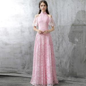 Vintage / Originale Rougissant Rose Robe De Soirée 2017 Princesse Col Haut Manches Courtes Bustier Longue Volants Dos Nu Robe De Ceremonie