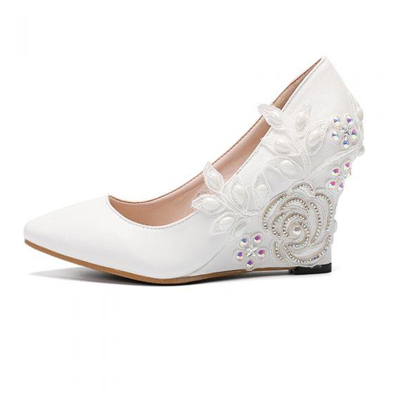Elegant Ivory Prom Lace Womens Shoes 2020 Pearl Rhinestone Pointed Toe 8 cm Wedges