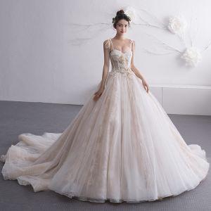 Elegant Champagne Wedding Dresses 2019 A-Line / Princess Spaghetti Straps Sleeveless Backless Beading Chapel Train Ruffle