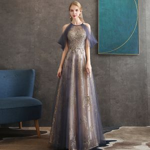 Illusion Purple See-through Evening Dresses  2020 A-Line / Princess Scoop Neck Short Sleeve Appliques Lace Glitter Sequins Ruffle Beading Floor-Length / Long Backless Formal Dresses