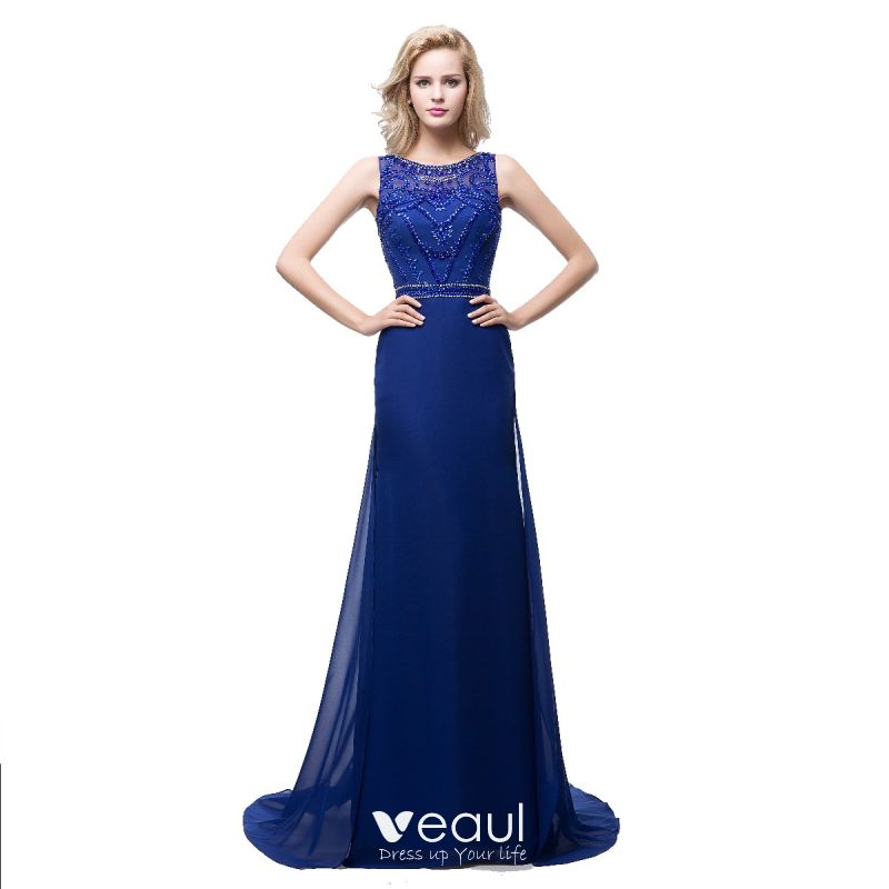 28ebed85cb34 Modern / Fashion Royal Blue Chiffon See-through Evening Dresses 2018 A-Line  / Princess Scoop Neck Sleeveless ...