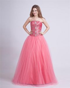 Taffeta Yarn Beading Strapless Floor Length Prom Dresses