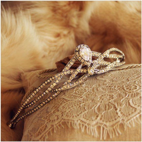Vintage Zilveren Rhinestone Tiara 2017 Kralen Metaal Bruidssieraden Tiara