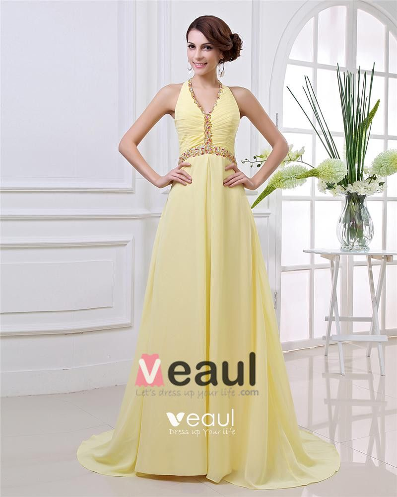 Elegant Floor Length Beading Pleated Chiffon Halter Women Evening Dress