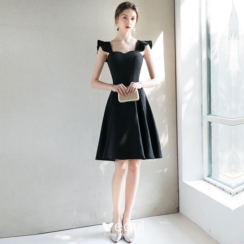 d7ed35135 Hermoso Negro de fiesta Vestidos de graduación 2018 A-Line   Princess Único  Hombros Cortos Ruffle Sin Espalda Vestidos Formales