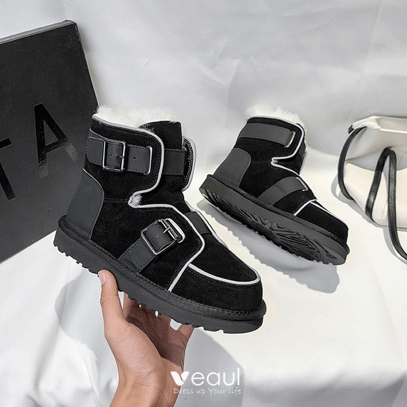 Stylowe Modne Bling Bling Czarne Snow Boots 2020 Skórzany Wełniany Klamra Zima Przypadkowy Ogród Outdoor Zamszowe Płaskie Okrągłe Toe Buty Damskie