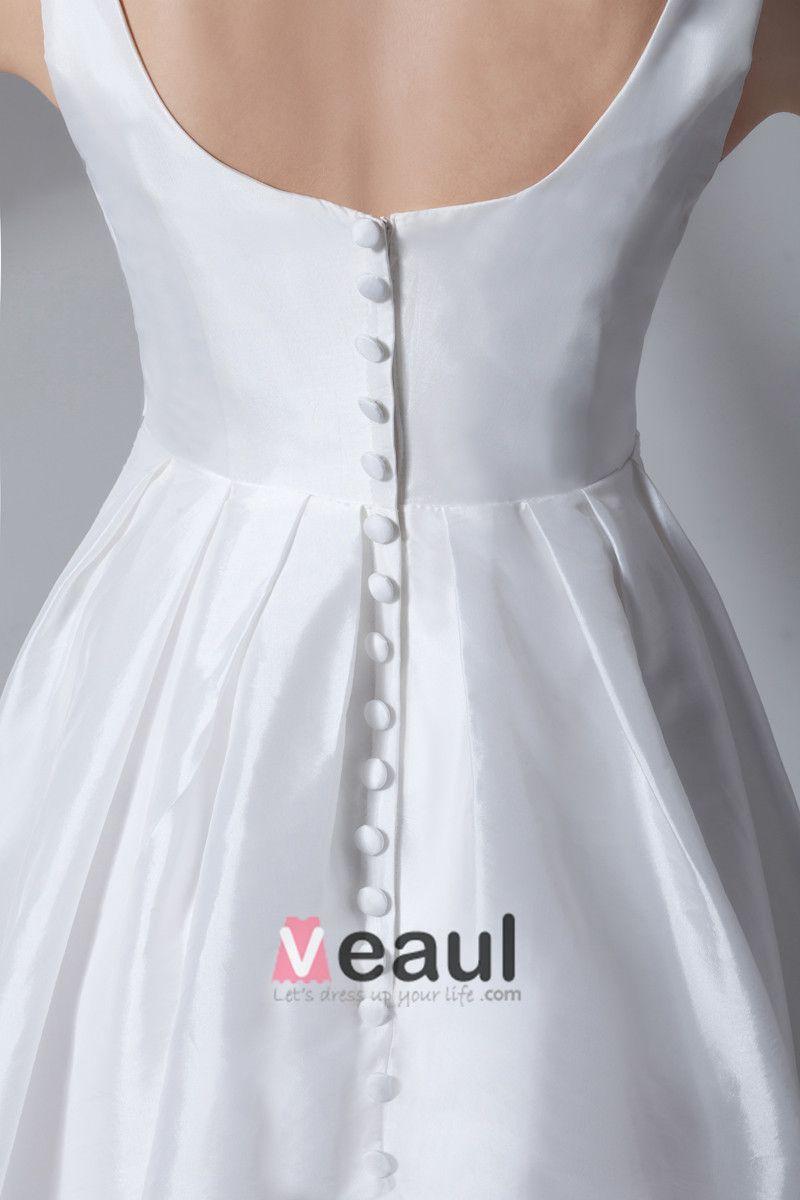 Square Neck Pleated Beading Floor Length Taffeta Empire Wedding Dress