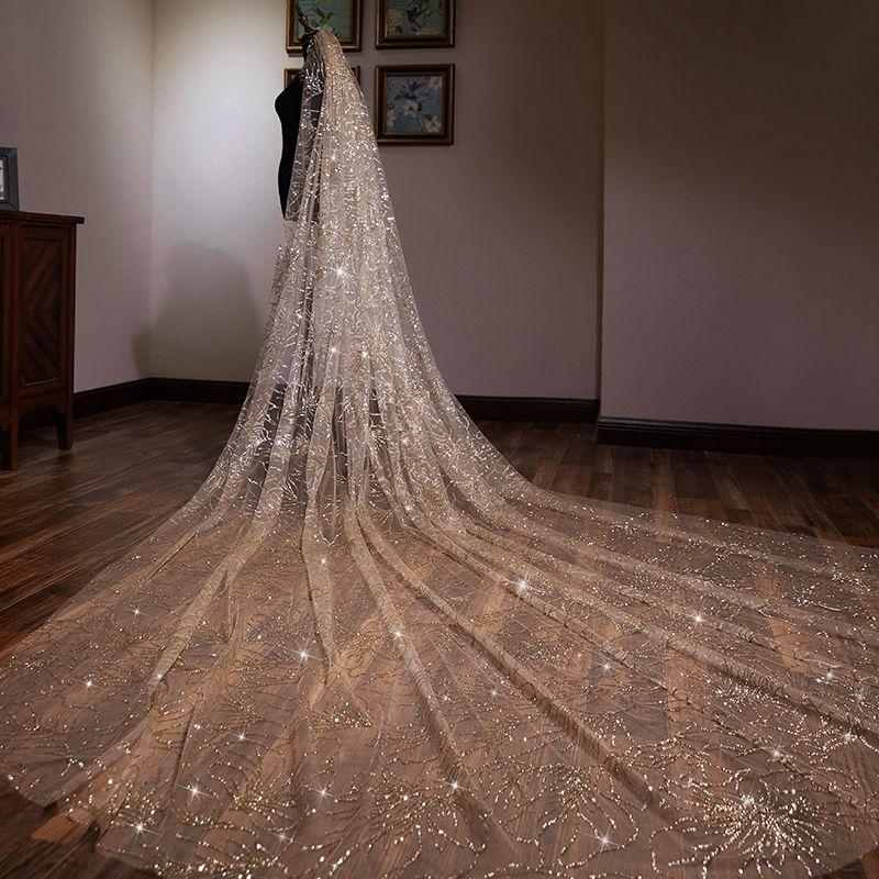 Sparkly Gold Glitter Wedding Veils 2019