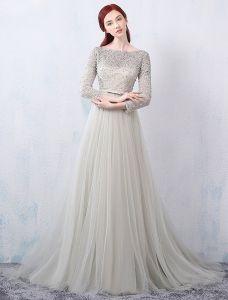 Robes De Soirée Glamour 2016 Une Ligne Carrée Décolleté Dentelle Perlage Robe De Soirée Grise En Tulle Dos Nu
