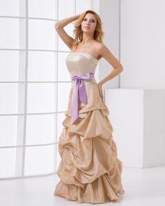 Mode En Taffetas A Volants Bowknot Etage Robe Sans Manches, Bretelles Longueur De Bal