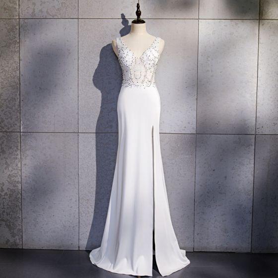 Sexy White See-through Evening Dresses  2020 Trumpet / Mermaid V-Neck Sleeveless Beading Split Front Floor-Length / Long Backless Formal Dresses