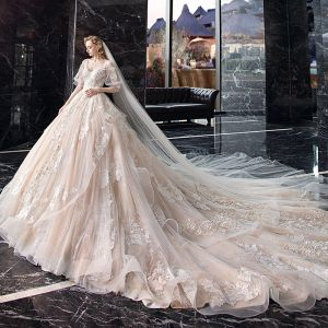 Elegant Champagne Wedding Dresses 2020 A-Line / Princess V-Neck Puffy 1/2 Sleeves Backless Appliques Lace Beading Cathedral Train Ruffle