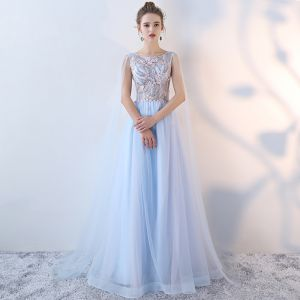 Chic / Beautiful Sky Blue Evening Dresses  2017 A-Line / Princess Lace Flower Beading Pearl Sequins Backless Scoop Neck Sleeveless Floor-Length / Long Formal Dresses