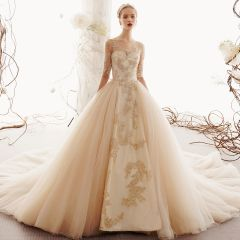 Elegant Champagne Wedding Dresses 2019 A-Line / Princess Scoop Neck Beading Lace Flower Pearl 1/2 Sleeves Cathedral Train