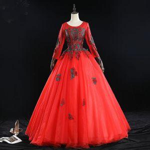 Elegante Rode Galajurken 2019 Baljurk Ronde Hals Kralen Kwast Rhinestone Kant Bloem Lange Mouwen Ruglooze Lange Gelegenheid Jurken