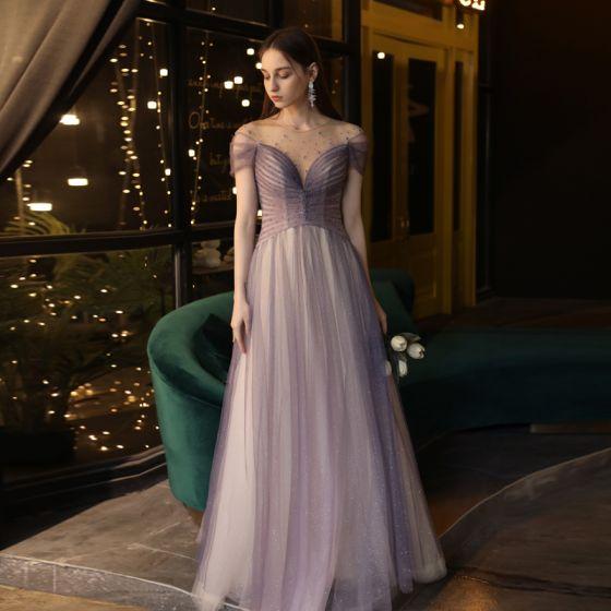 Elegante Traube Abendkleider 2020 A Linie Durchsichtige Rundhalsausschnitt Kurze Ärmel Perlenstickerei Glanz Tülle Sweep / Pinsel Zug Rüschen Rückenfreies Festliche Kleider