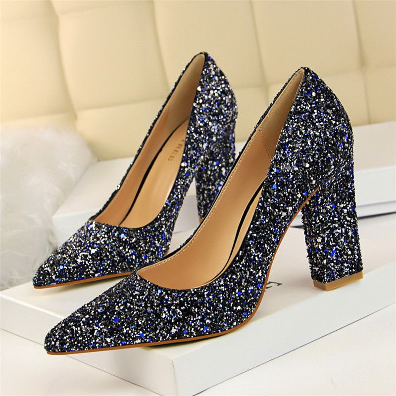 Sparkly Silver Prom Pumps 2018 Sequins Pointed Toe High Heels
