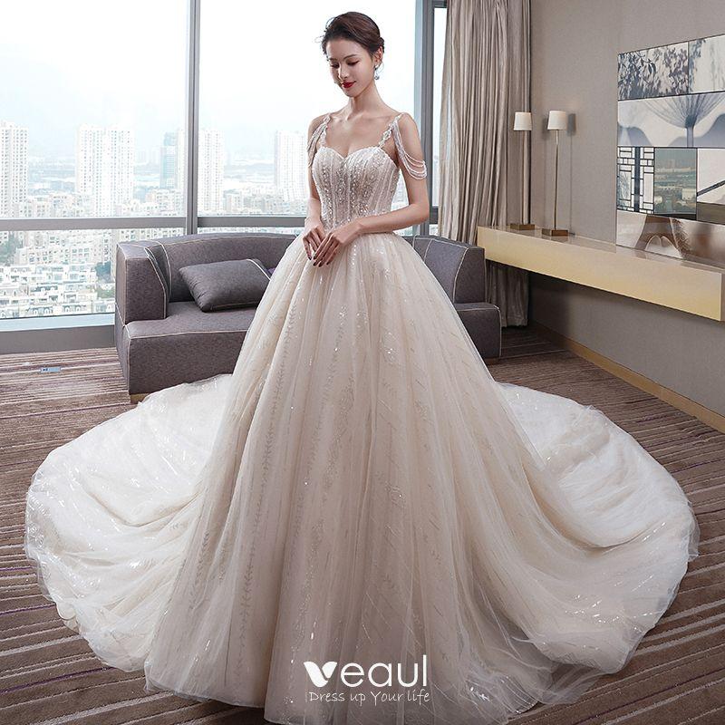 Fabulous Champagne Wedding Dresses 2019 A-Line / Princess