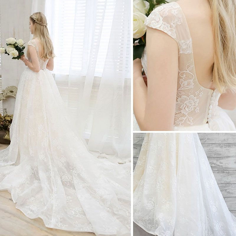 Chic / Beautiful Outdoor / Garden Champagne Wedding Dresses 2017 A-Line / Princess Square Neckline Short Sleeve Covered Button Backless Ruffle Lace Chapel Train