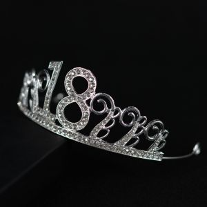 Chic / Beautiful Silver Birthday Tiara 2020 Alloy Rhinestone Accessories