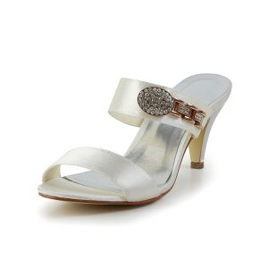 Fashion Strappy Heels Ivory Satin Bridal Wedding Shoes With Rhinestone