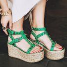 Modern / Fashion 2017 Green Outdoor / Garden Leather Summer Rivet High Heels Thick Heels Sandals Open / Peep Toe Womens Sandals