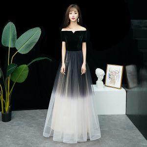 Affordable Black Gradient-Color Evening Dresses  2019 A-Line / Princess Off-The-Shoulder Short Sleeve Floor-Length / Long Ruffle Backless Formal Dresses