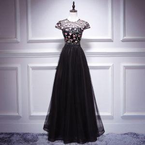 Chic / Belle Noire Longue Robe De Soirée 2018 Princesse U-Cou Tulle Appliques Dos Nu Robe De Ceremonie