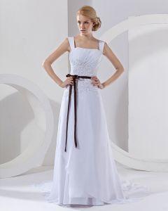 Wasit Band Quadrat Gericht A-linie Brautkleider Hochzeitskleid