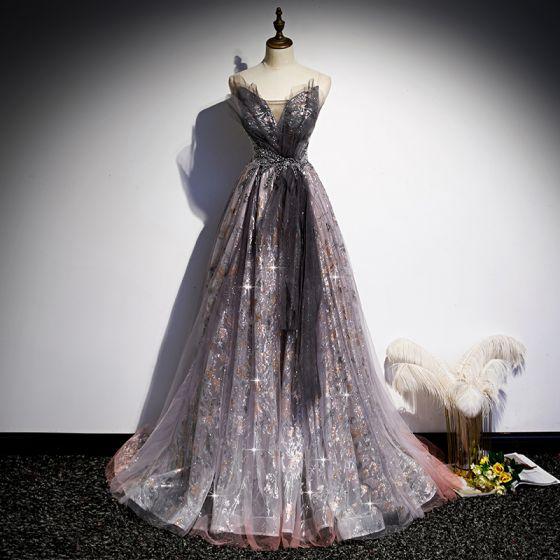 Fantaisie Grape Robe De Bal 2020 Princesse Amoureux Sans Manches Perlage Glitter Tulle Train De Balayage Volants Dos Nu Robe De Ceremonie