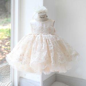 Elegant Champagne Birthday Flower Girl Dresses 2020 Ball Gown Scoop Neck Sleeveless Appliques Lace Beading Sash Short Ruffle Wedding Party Dresses