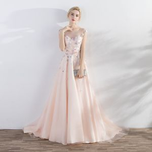 Elegant Pearl Pink Evening Dresses  2017 A-Line / Princess Artificial Flowers Pearl Bow Scoop Neck Crossed Straps Backless Sleeveless Court Train Evening Party