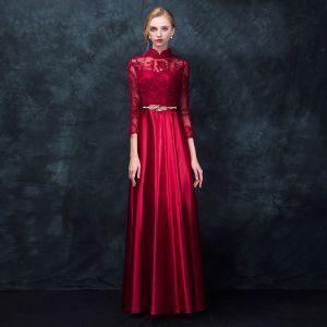Kinesisk Stil Rød Selskapskjoler 2017 Prinsesse Høy Hals 3/4 Ermer Appliques Blonder Metall Sash Lange Formelle Kjoler
