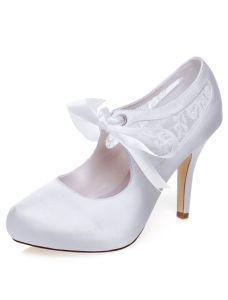 Belles Escarpins De Mariage Blanc Stiletto Talons Dentelle Chaussures De Mariage Talon Haut Avec Noeud