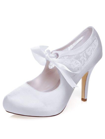 Noeud Haut Belles Blanc De Dentelle Escarpins Avec Talon Mariage Talons Stiletto Chaussures ynvwOm8N0